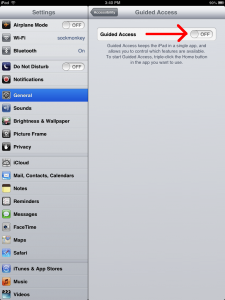 iPad Guided Access Settings Off